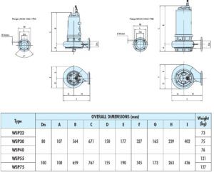 Submersible Chopper Pump Dimensions