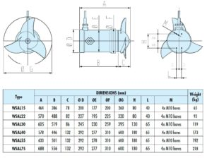 Pit Submersible Agitator and Mixer Dimensions WSA