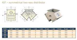 2-Way 45Deg Symmetric Diverter Flap Valve With Legs